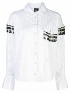 Victoria Hayes striped bead-embellished shirt - White