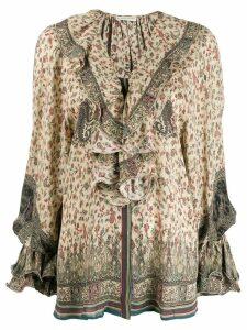Etro ruffled neck blouse - Neutrals
