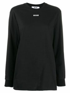 MSGM logo printed long-sleeved T-shirt - Black