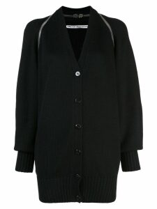 Alexander Wang v-neck split shoulder cardigan - Black