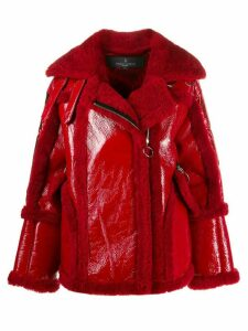 Nicole Benisti Montaigne shearling-trimmed jacket - Red