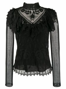 See By Chloé high-neck embroidered blouse - Black