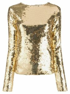 Andamane sequinned slim-fit top - GOLD