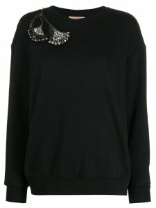 Twin-Set beaded shoulder detail sweatshirt - Black