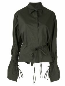 Mm6 Maison Margiela tied button-up long-sleeved shirt - Black