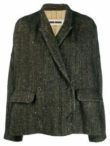Uma Wang herringbone pattern oversized jacket - Black
