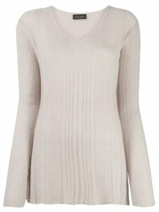 Roberto Collina ribbed v-neck jumper - NEUTRALS