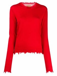 Uma Wang frayed edges jumper - Red