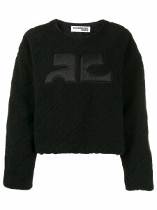 Courrèges textured boxy-fit jumper - Black