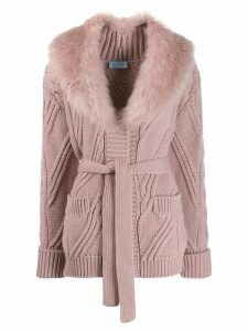Prada faux fur collar cardigan - PINK