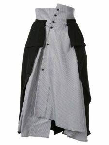 Aganovich jersey-panelled houndstooth skirt - Black