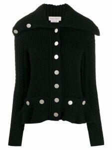 Alexander McQueen ribbed knit peplum cardigan - Black