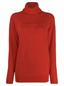 Ambush logo knitted roll-neck jumper - ORANGE