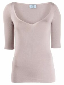 Prada V-neck knitted top - PINK