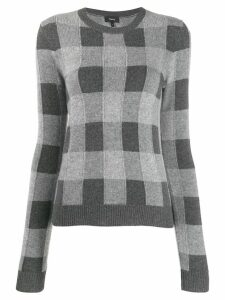 Theory checked cashmere jumper - Grey