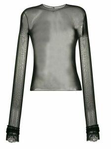 Philosophy Di Lorenzo Serafini sheer long-sleeved top - Black