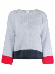 Fine Edge striped hem knitted jumper - Blue