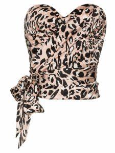 Alexandre Vauthier leopard print bustier top - PINK