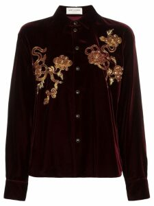 Saint Laurent embellished velvet shirt - Red