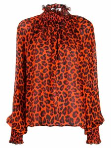 MSGM leopard print turtleneck blouse - ORANGE