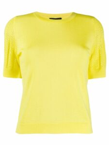 Escada perforated sleeve knitted top - Yellow