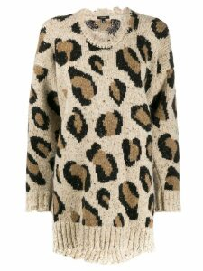 R13 leopard print sweater - White