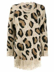 R13 leopard print sweater - White