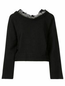 Shanshan Ruan organza-trimmed sweatshirt - Black