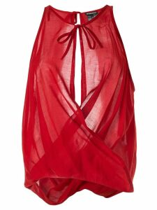 Ann Demeulemeester draped voile blouse - Red
