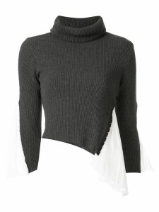 Shanshan Ruan silk-panelled jumper - Grey