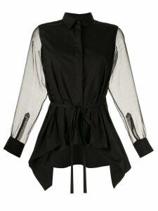 Shanshan Ruan organza-panelled shirt - Black