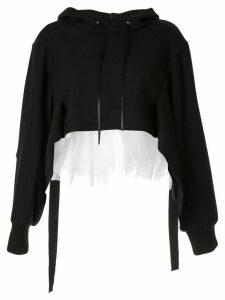 Shanshan Ruan voile-panelled hoodie - Black