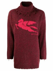 Etro distressed turtleneck jumper - Red