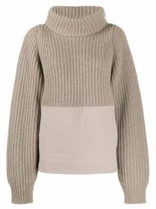 Haider Ackermann panelled ribbed roll neck jumper - Neutrals