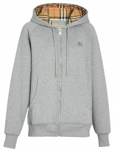Burberry Vintage Check Detail Jersey Hooded Top - Grey