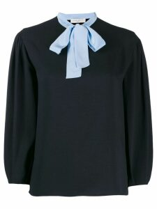 Sandro Paris contrast bow blouse - Black
