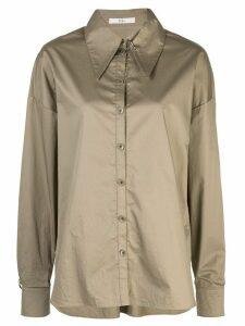 Tibi tech poplin shirt with detached collar - NEUTRALS