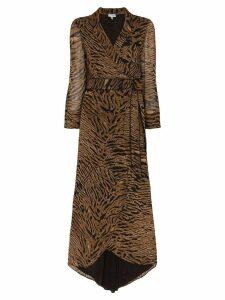 GANNI tiger stripe wrap dress - Brown