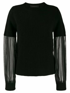 Federica Tosi sheer sleeve jumper - Black