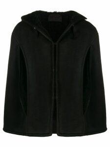Prada hooded shearling cape - Black