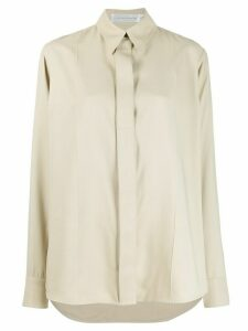 Victoria Beckham concealed-placket long-sleeve shirt - NEUTRALS