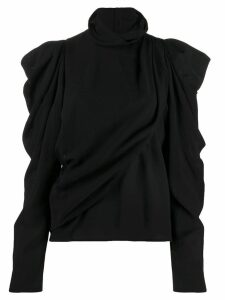 Lemaire button-up draped roll-neck top - Black