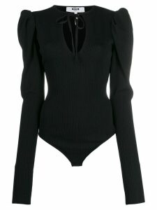 MSGM ribbed tied neck body - Black