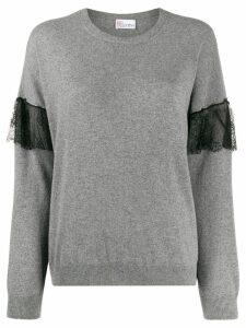 RedValentino ruffle lace insert jumper - Grey