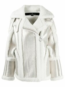 Nicole Benisti Montaigne shearling-trimmed jacket - White