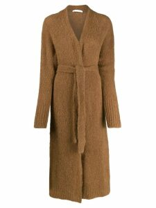 Tela long-line knitted cardigan - Brown