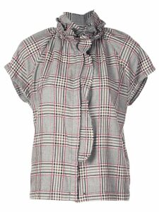 A Shirt Thing ruffled check blouse - Black