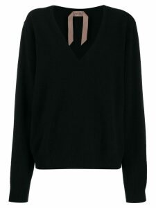 Nº21 deep V-neck knitted top - Black