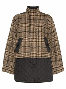 Ganni check panel quilted coat - Black