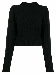 Wandering cropped cable-knit sweater - Black